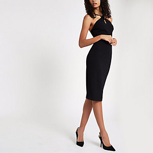 Black scuba cross strap bodycon dress