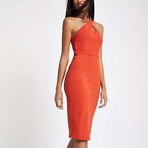 Orange scuba cross strap bodycon dress