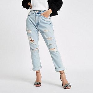 Petite – Hellblaue Boyfriend Fit Jeans im Used-Look