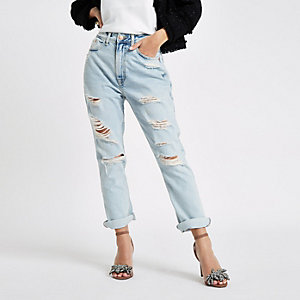 Petite light blue boyfriend fit ripped jeans
