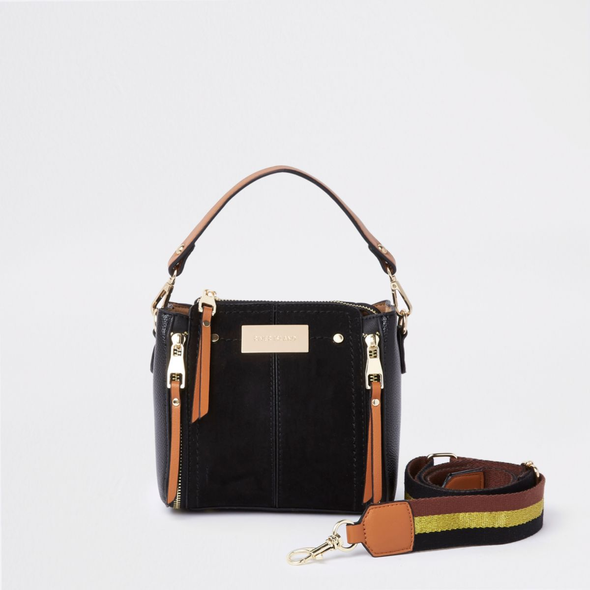 Black mini zip front bucket cross body bag
