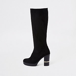 Black faux suede block heel knee high boots
