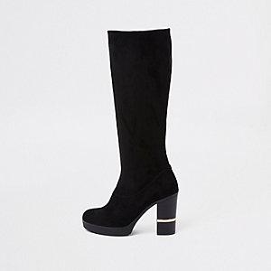 Schwarze, kniehohe Stiefel aus Wildlederimitat