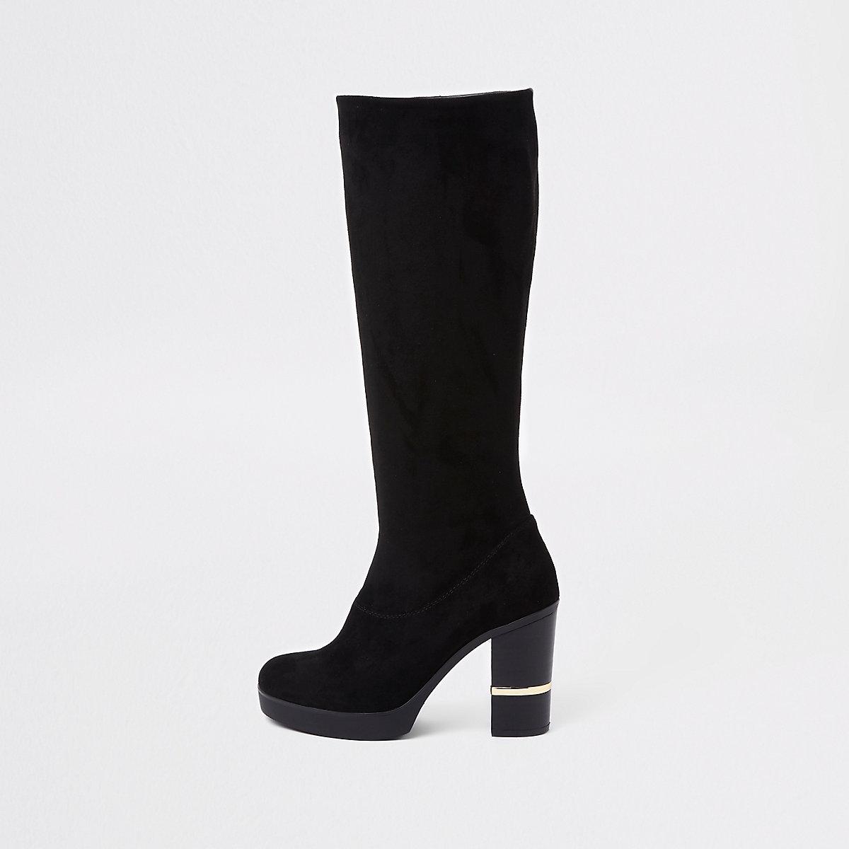 Zwarte kniehoge laarzen van imitatiesuède met blokhak