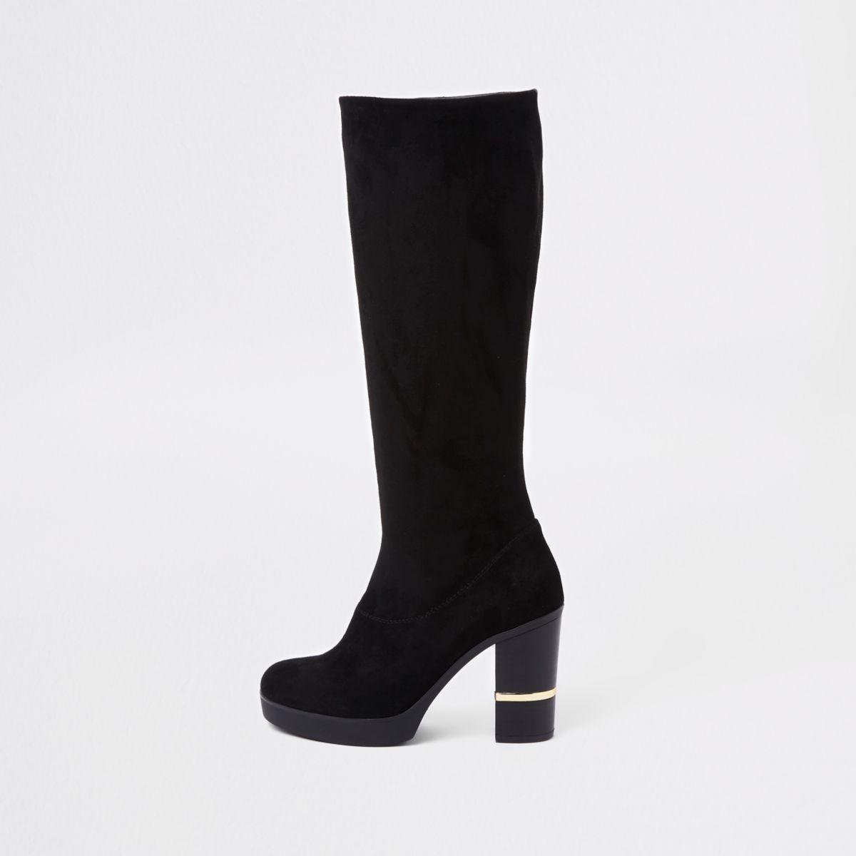 Black faux suede block heel knee high boots