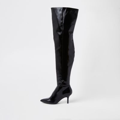 Black Slouch Over The Knee Boots by River Island