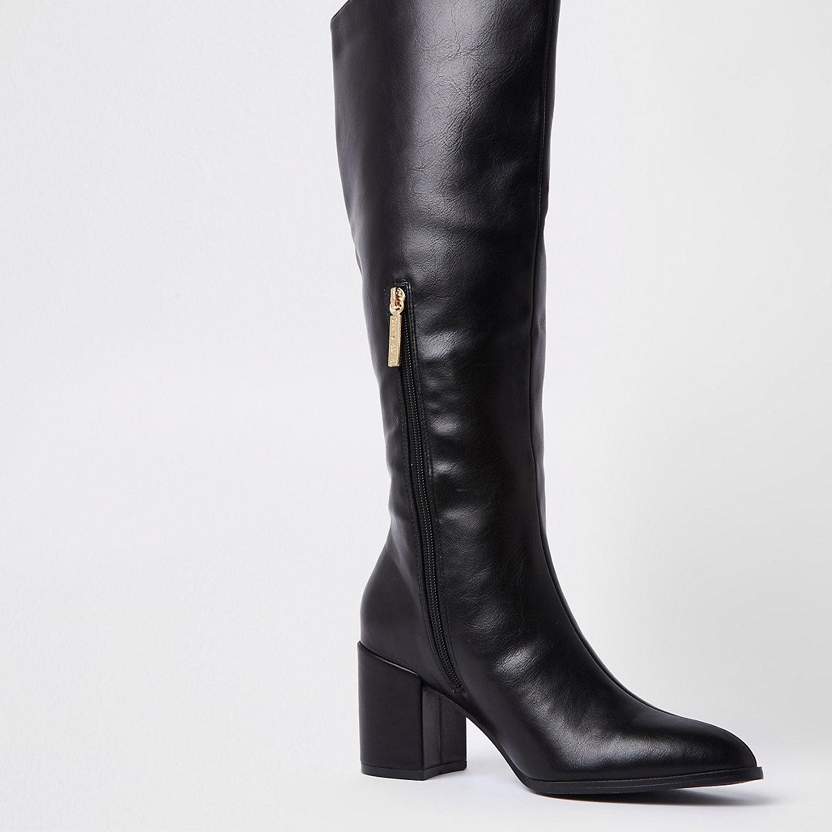 Zwarte kniehoge laarzen van imitatieleer ...