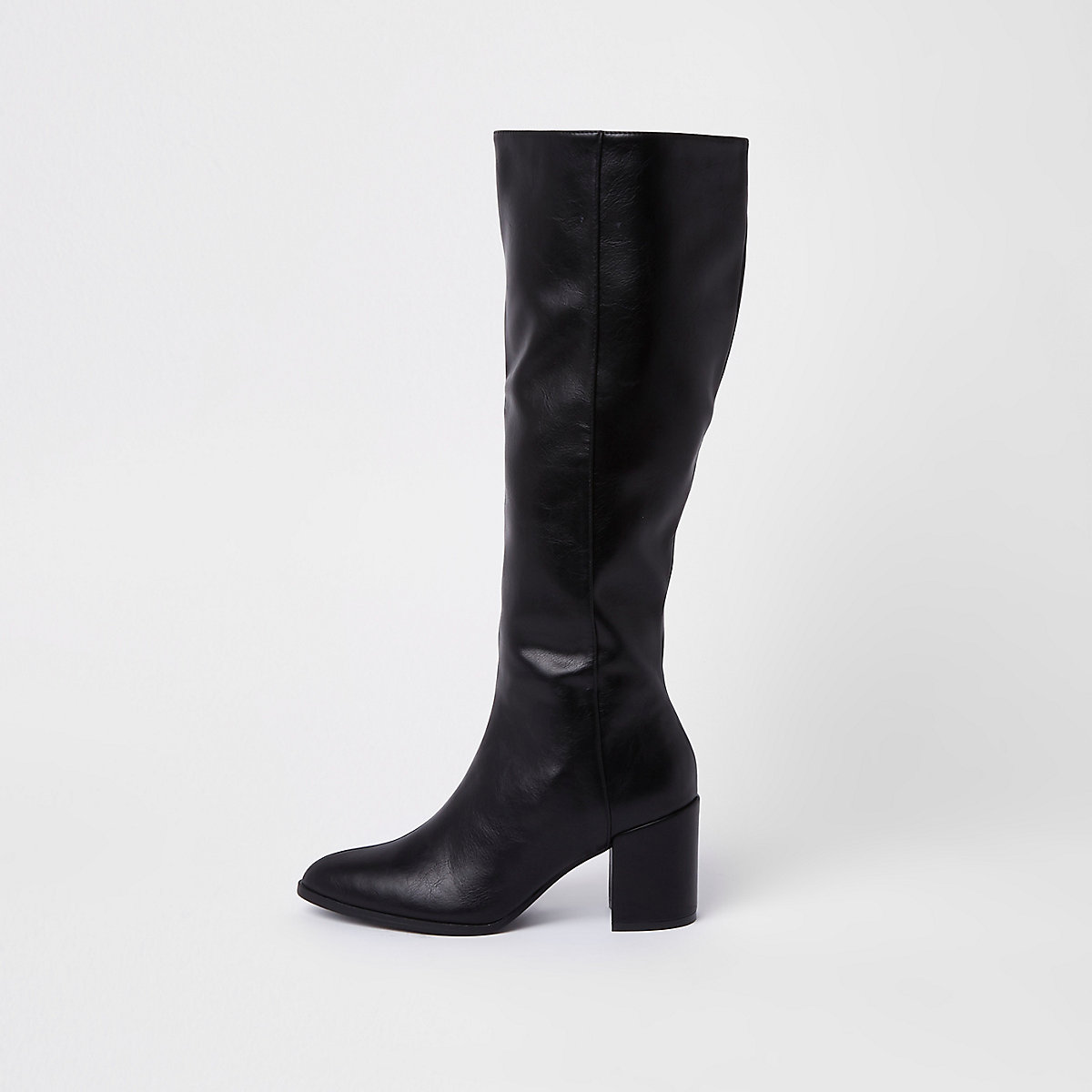 Black faux leather knee high boots