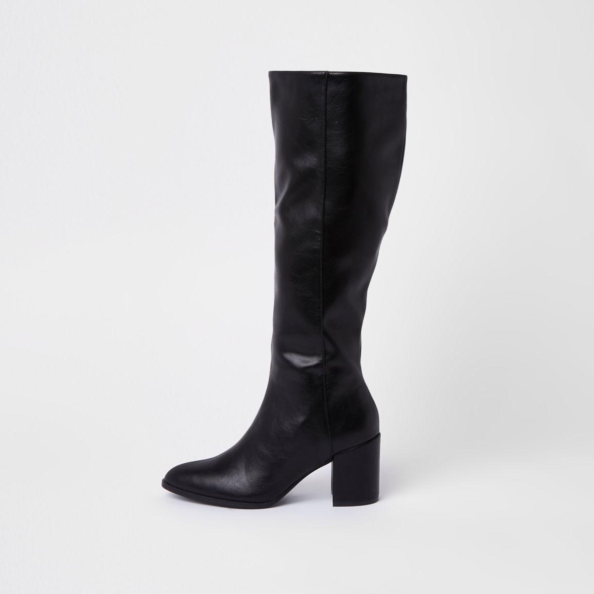 Zwarte kniehoge laarzen van imitatieleer