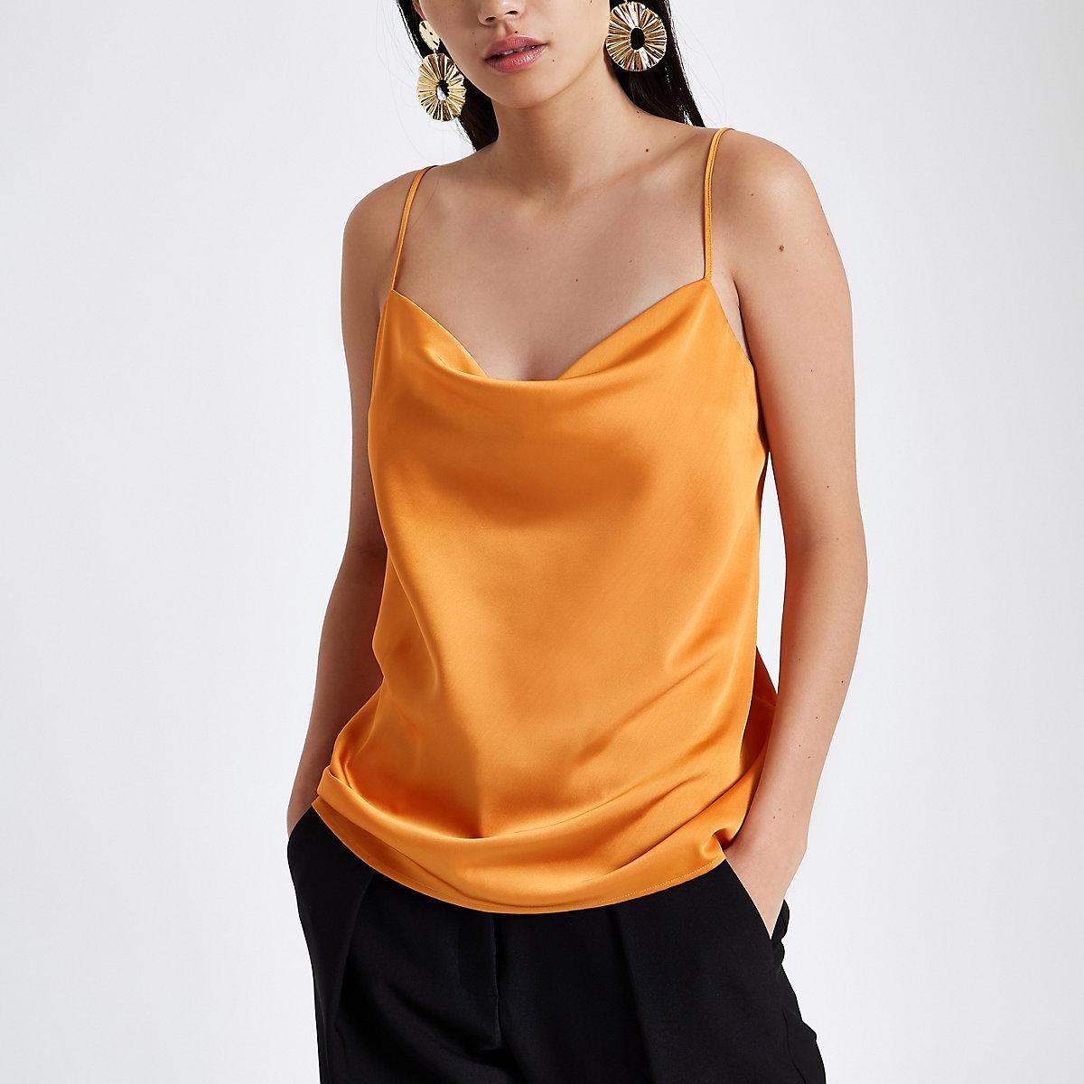 Orange cowl neck cami top