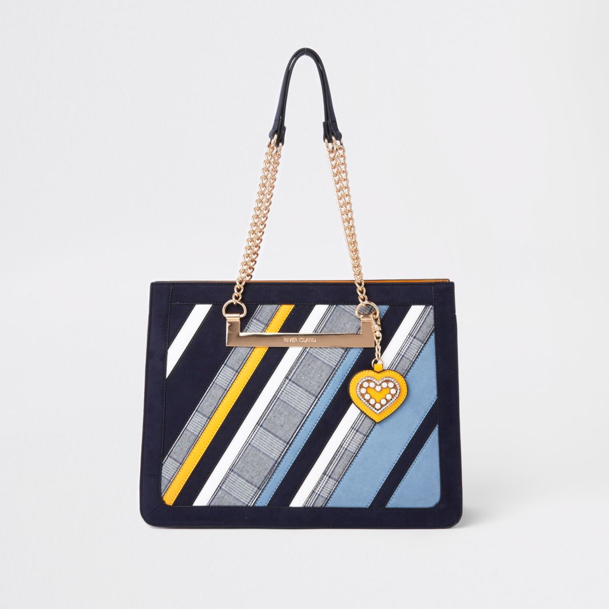 Blue check stripe chain handle tote bag
