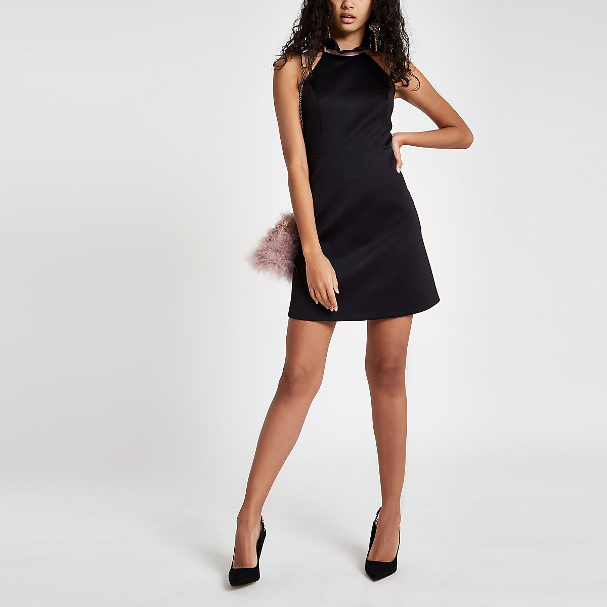 Black frill halter neck mini dress