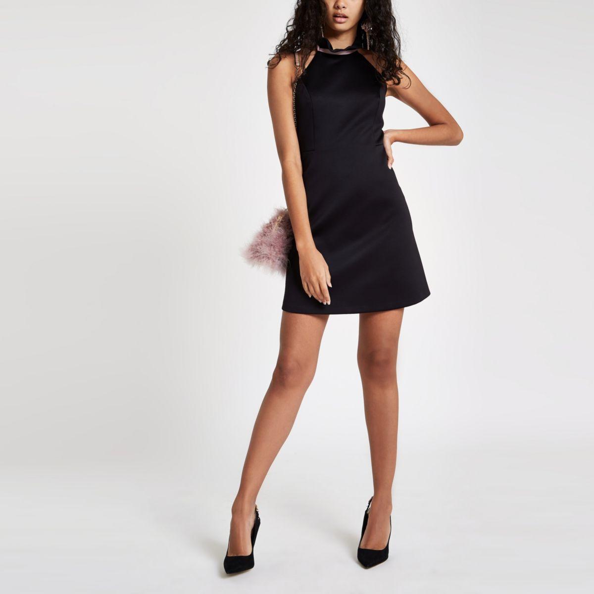 Black frill halter neck mini dress