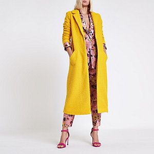 Dark yellow textured longline coat