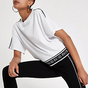 White RI tape sleeve T-shirt