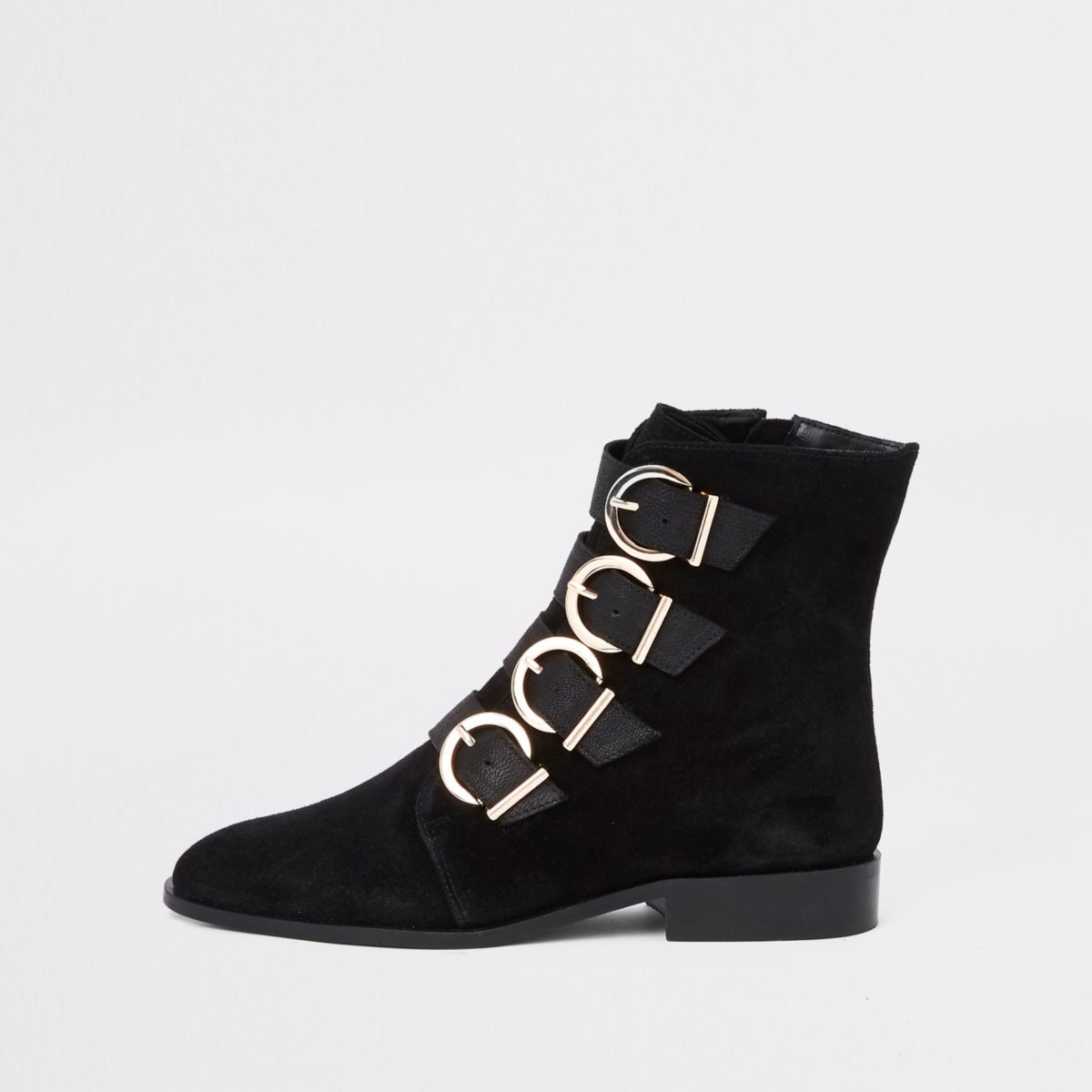 Black leather buckle detail boots