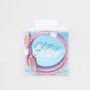 Roze glitter iPhone kabel