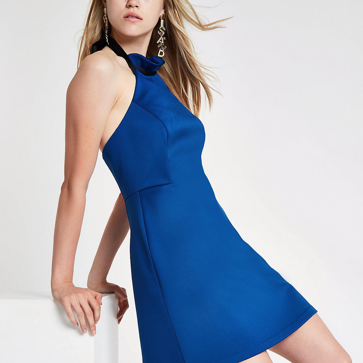 Blue frill halter neck mini dress