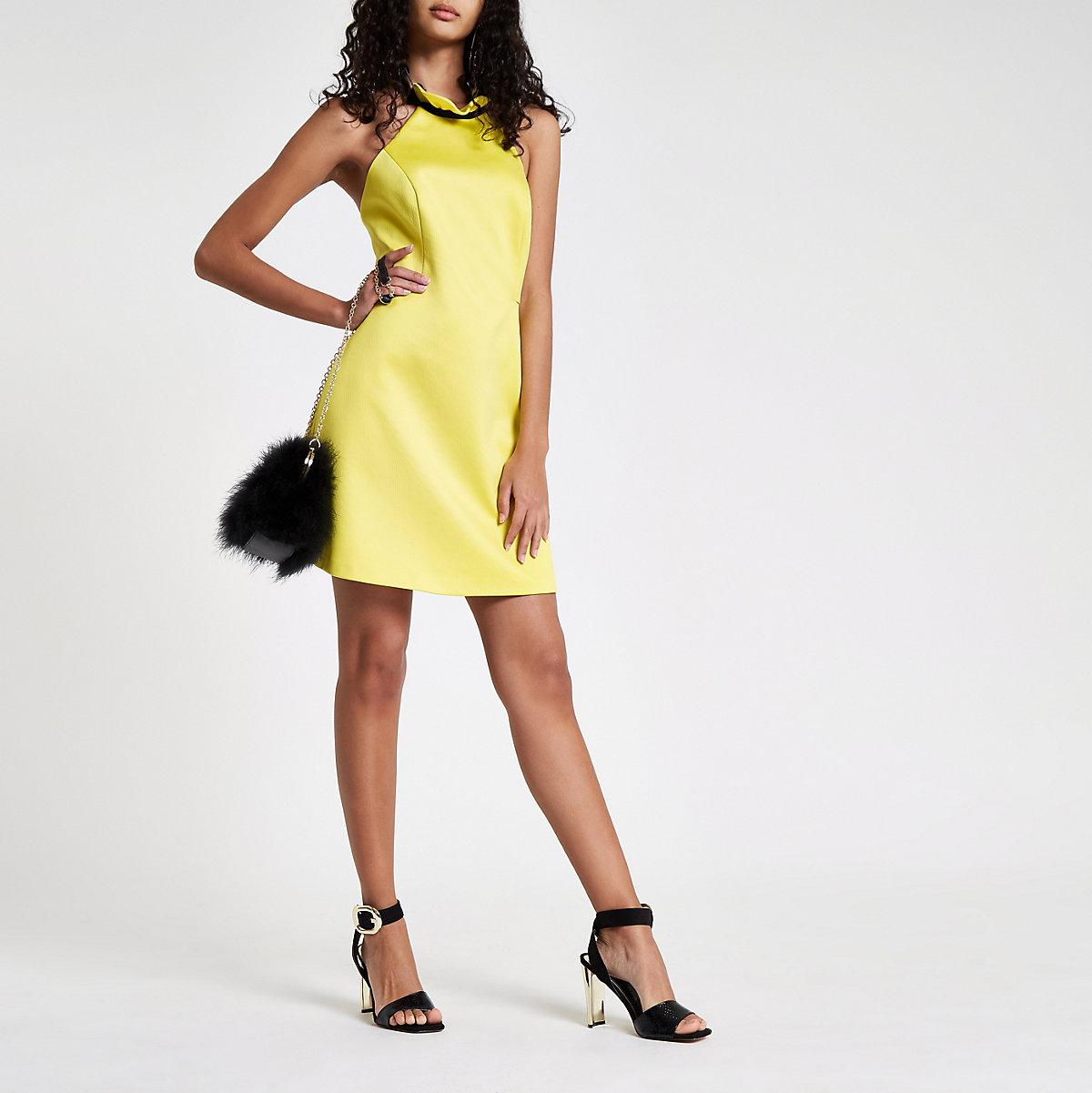 Yellow frill halter neck mini dress
