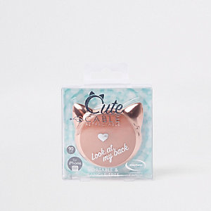 Rose gold tone retractable cat iphone charger