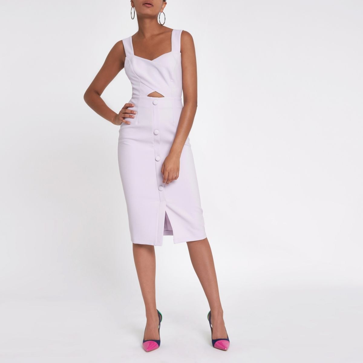 Purple button cut out bodycon midi dress