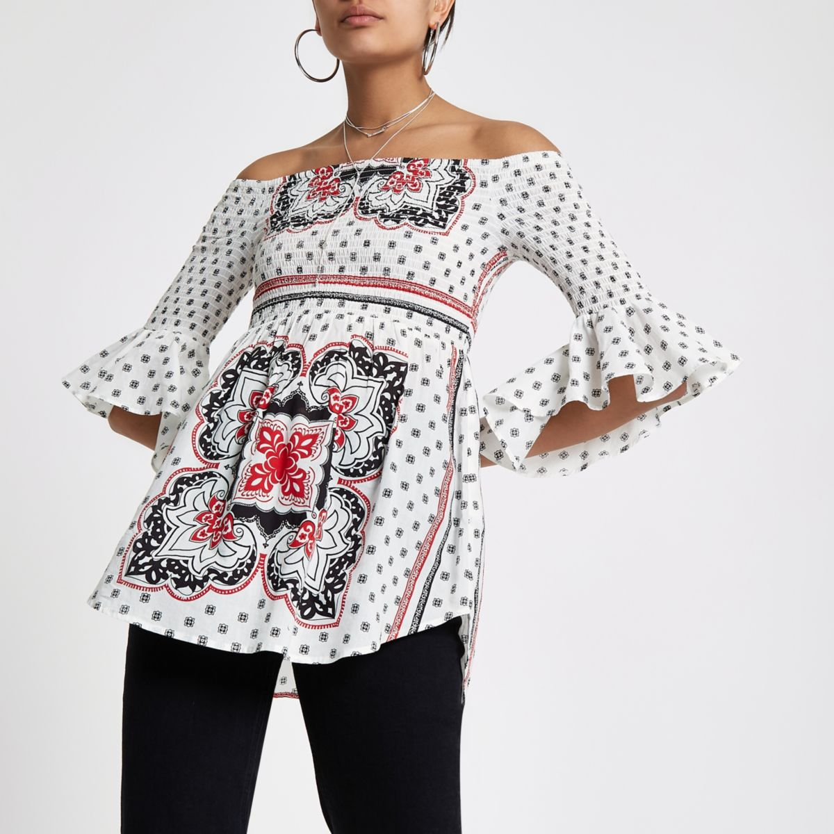 White paisley print bell sleeve top