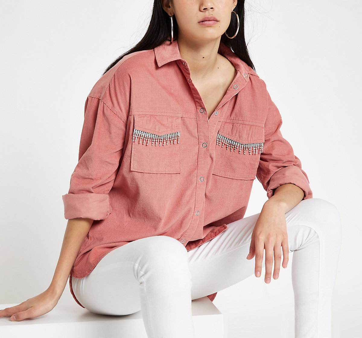 Pink corduroy diamante embellished shirt