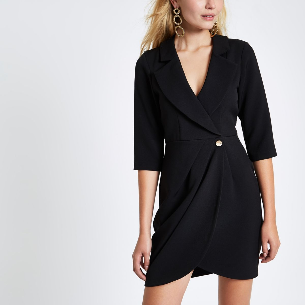 Black bodycon wrap tux mini dress