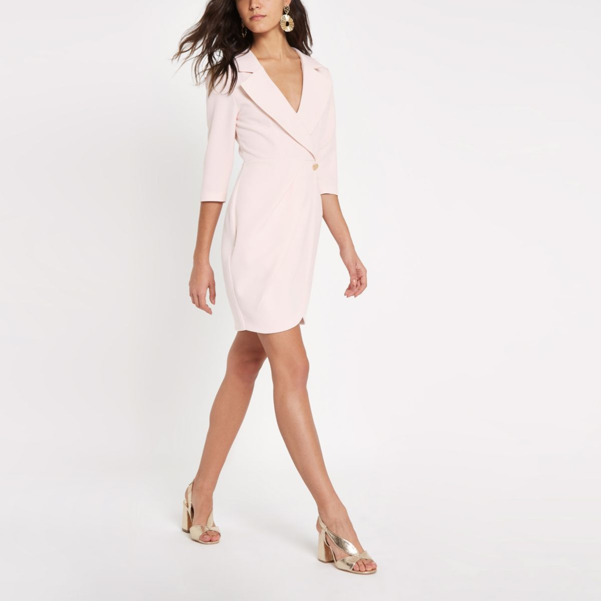 Light pink bodycon wrap tux mini dress