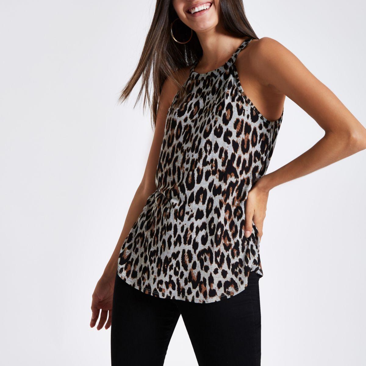 Grey leopard print halter neck tank top