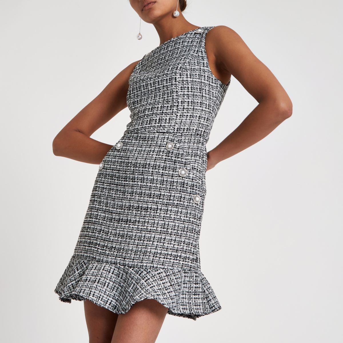 ​Black check boucle peplum hem dress​