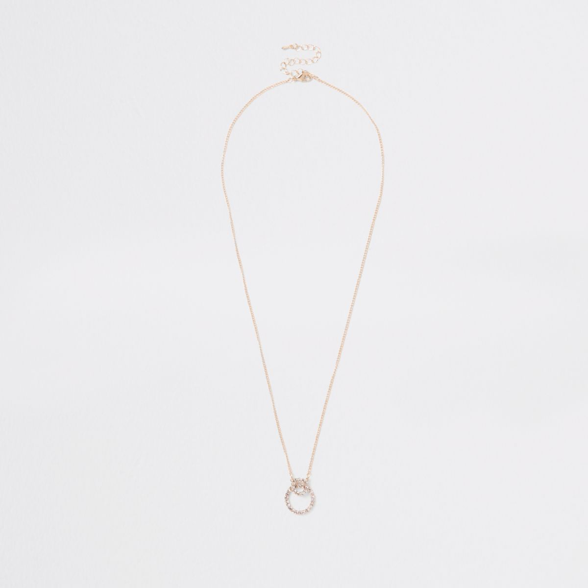 Gold tone interlinked circle pendant necklace