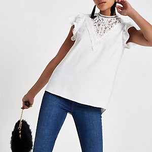 White lace trim high neck top