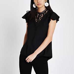 Black lace trim short sleeve top