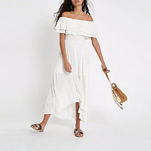 White bardot frill hem maxi dress