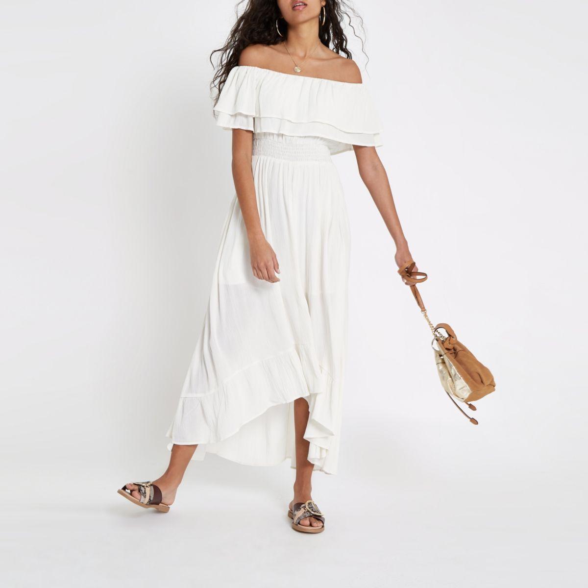 White bardot frill hem maxi dress