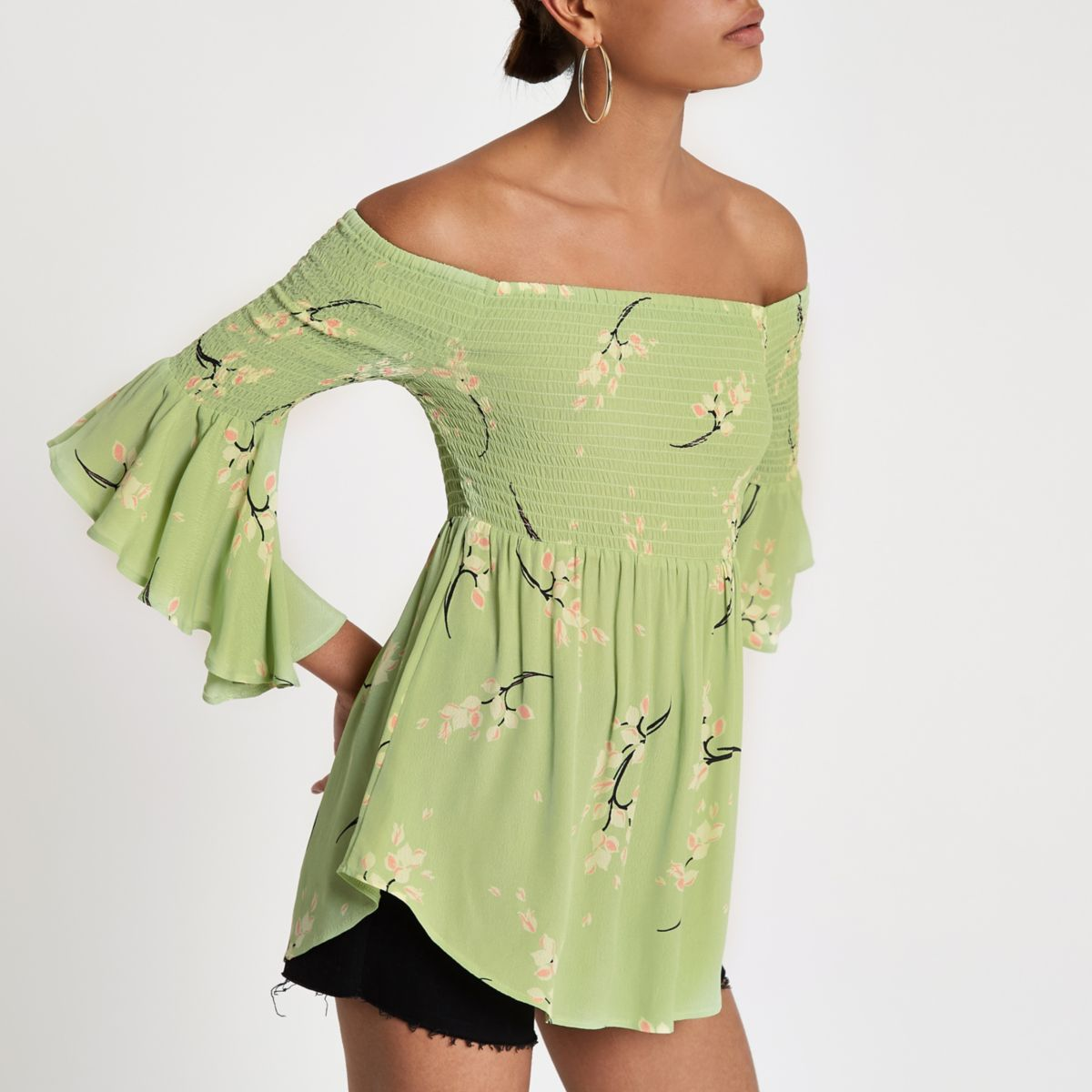 Light green floral bardot frill sleeve top