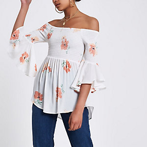 Cream shirred floral bardot frill sleeve top