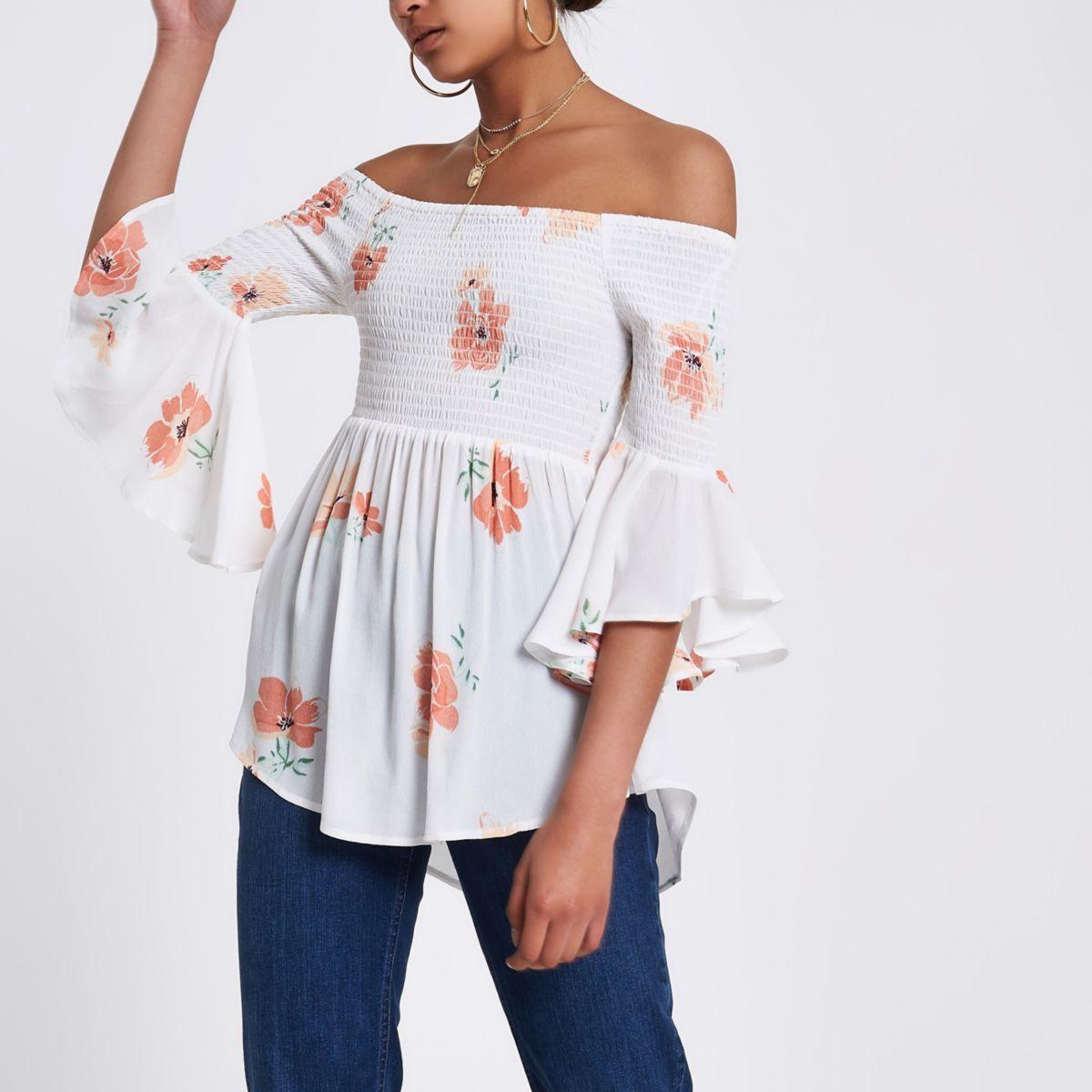 Cream shirred floral bardot frill sleeve top