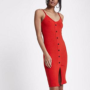 Petite – Robe moulante rouge côtelée boutonnée