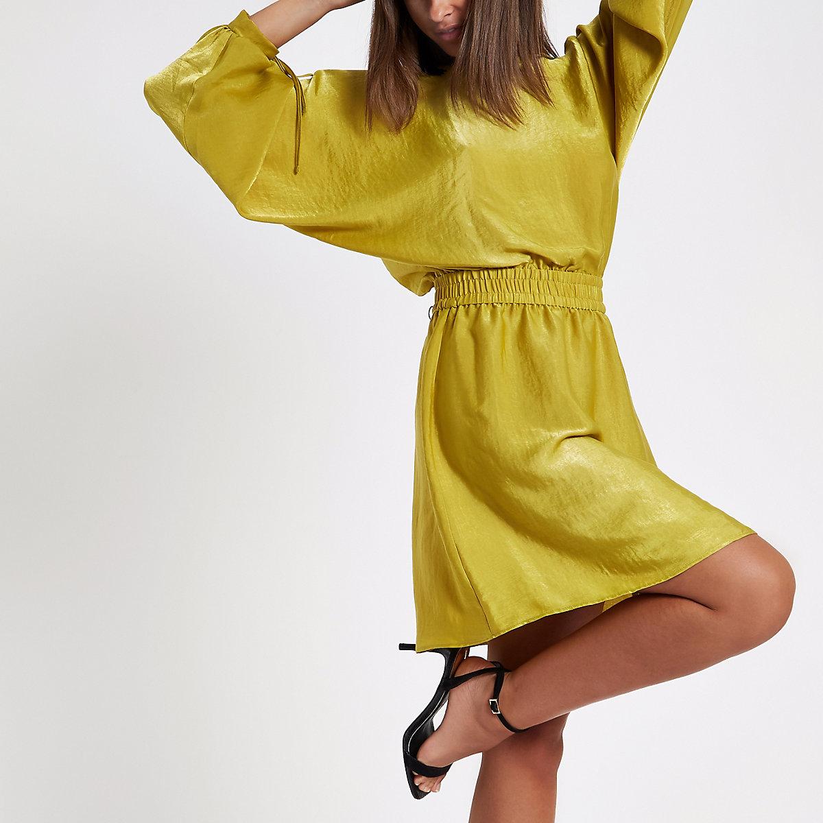 Green shirred waist mini dress