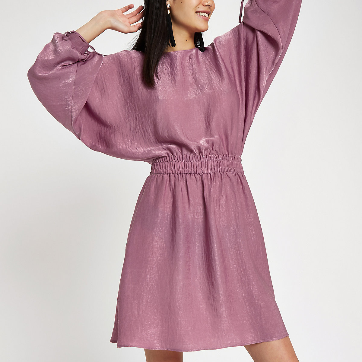 Pink shirred waist mini dress