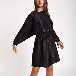 Black shirred waist mini dress