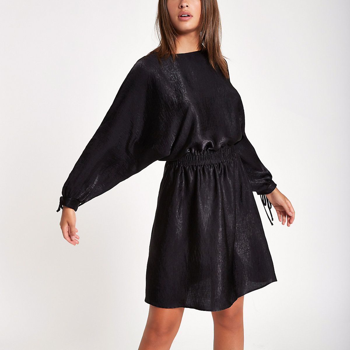 Black shirred waist mini dress