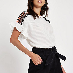 White pom pom frill sleeve top