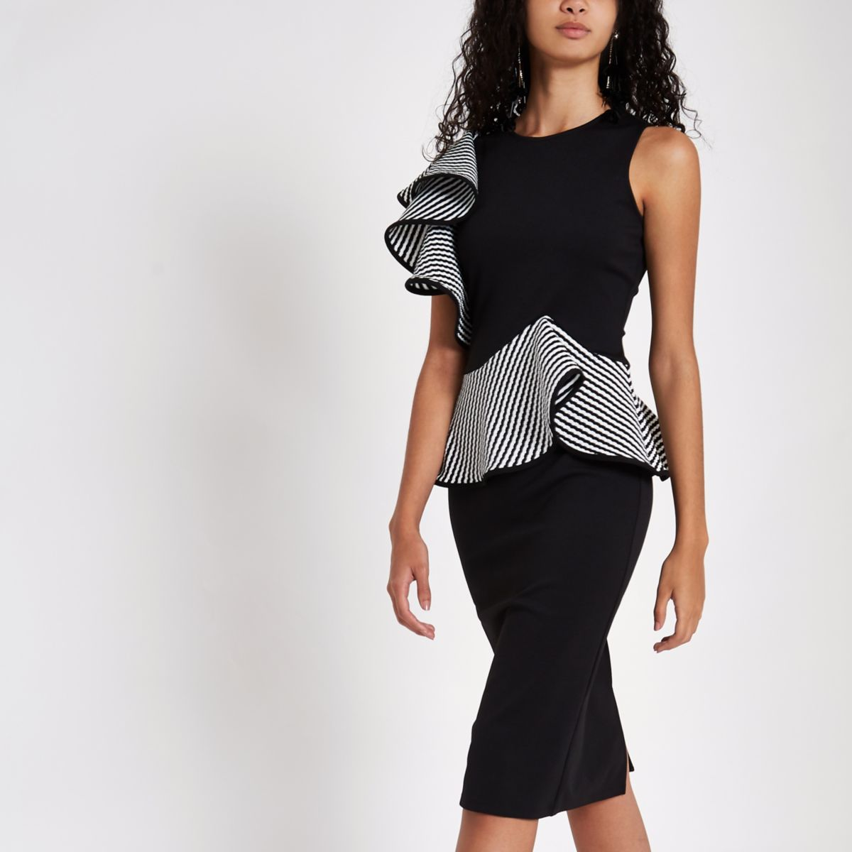 Black frill detail bodycon dress