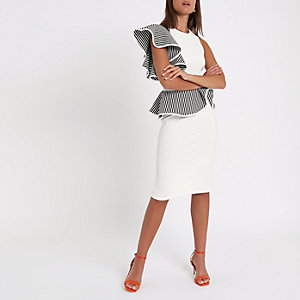 White frill detail bodycon dress