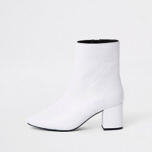 White leather block heel boots