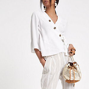 White wrap button blouse