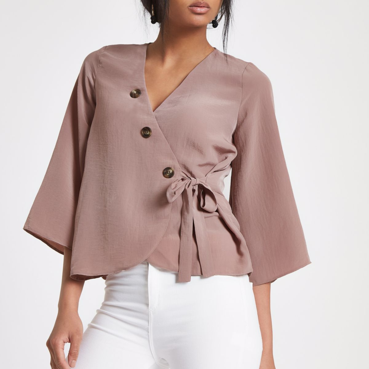 Nude pink wrap button blouse